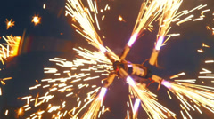 Spinning fire mill, sparkles everywhere, fireshow performance, click for HD Stock Footage