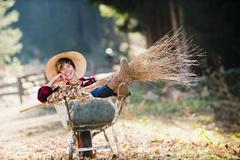 Austria, Salzburg County, Young woman in wheel barrow with autumn leaves, - stock photo