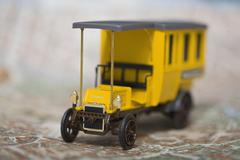 Old timer truck on map, close up - stock photo