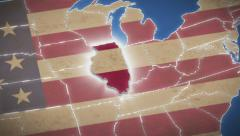 USA map, Illinois pull out, all states available, click for HD Stock Footage