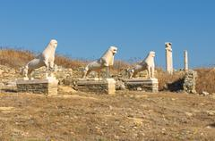 the terrace of the lions, delos island, greece - stock photo