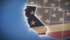 USA map, California pull out, all states available, click for HD - stock footage