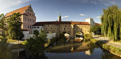 Germany, Bavaria, View of Stadtbrille at Vils River - stock photo