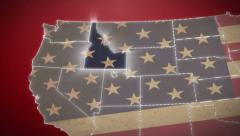 USA map, Idaho pull out, all states available. Red, click for HD - stock footage