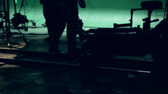 A dolly track on hollywood green screen film set Stock Footage