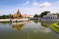 palace center pond water reflex. - stock photo