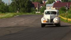 Retro Ford Coupe Chevrolet Fangio Bentley Drophead driving fast, click for HD Stock Footage