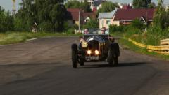 Pre-war classic car Bentley 3 ヨ 4.5 driving beautiful landscape, click for HD - stock footage