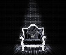 Black sofa interior backdrop Stock Illustration