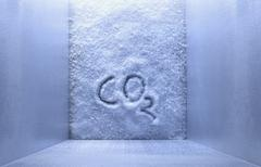 Stock Photo of CO2 is written on ice in freezer