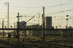 Germany, Bavaria, Munich, Interconnecting railway tracks near main station - stock photo