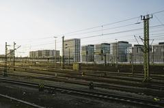 Germany, Bavaria, Munich, Interconnecting railway tracks near main station Stock Photos