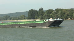 Empty cargo ship (front part), River Seine, France  Stock Footage