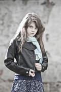 Stock Photo of Germany, Bavaria, Girl in black jacket, portrait