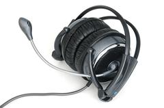 Headphones with microphone Stock Photos