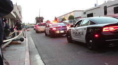 Shuttle Endeavour on Los Angeles Streets Police Escort Stock Footage