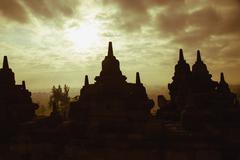 Indonesia, Yogyakarta, View of Borobudur Temple Stock Photos
