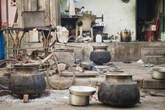 India, Ahmedabad, View of street kitchen - stock photo