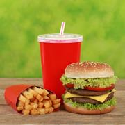 double cheeseburger combo meal with french fries and cola - stock photo