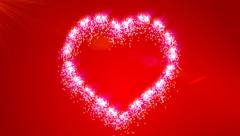 Red Sparkling Valentine Love Heart Animated Background - stock footage