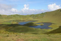 Volcano crater on the island of corvo azores portugal Stock Photos