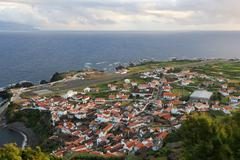 Panorama of the island of corvo azores Stock Photos