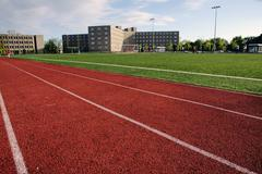 modern athletic field at a large private university - stock photo