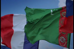 Lightning strikes in French flag. Turkmen, Russian flags., click for HD Stock Footage