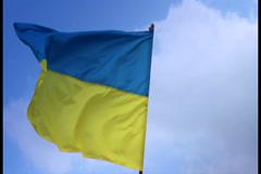 Flag of Ukraine on flagstaff. Ukrainian national flag., click for HD Stock Footage
