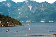 Horseshoe bay and bowen island with vancouver coastal mountains n the backdro Stock Photos
