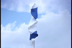 Israeli national flag waving on flagpole. Israel, Palestine, click for HD Stock Footage