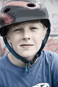 France, Boy with helmet, close up - stock photo