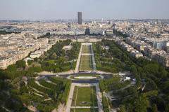 France, Paris, View of city with Champ de Mars Stock Photos