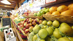 Grocery store produce pan Stock Footage