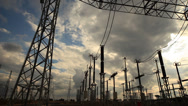 Stock Video Footage of Elestrical Substation Pan
