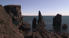 High cliffs coastline in south iceland Stock Footage