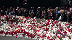 People gather at monument to commemorate genocide, Yerevan, Armenia - stock footage