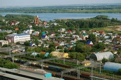 Russian suburb overview - stock photo