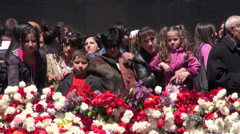 Mother holds child at Genocide Memorial, Yerevan Stock Footage
