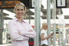 Stock Photo of Germany, North-Rhine-Westphalica, Duesseldorf, Young businesswoman smiling,