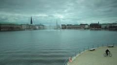 Binnenalster Lake in Hamburg Stock Footage