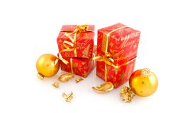 christmas presents in red with gold - stock photo