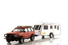 Caravan with automobile Stock Photos