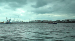 Boat in the river at the port in Hamburg Stock Footage