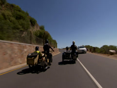 Motorbikes with sidecars Stock Footage