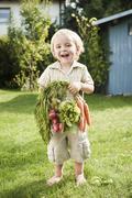 Germany, Bavaria, Boy holding carrots and red radish, smiling, portrait Stock Photos