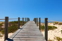 boardwalk protecting a fragile dune ecosystem - stock photo