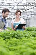 Germany, Bavaria, Munich, Mature man and woman with clip board in greenhouse - stock photo