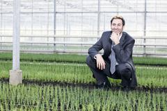 Germany, Bavaria, Munich, Mature man in greenhouse between seedlings - stock photo