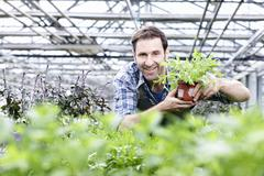Germany, Bavaria, Munich, Mature man in greenhouse with rocket plant - stock photo